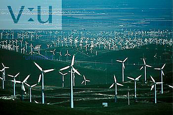 Wind power turbines drive generators to produce clean electricity, Altamont Pass