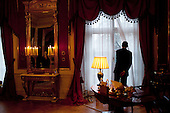 Oslo, Norway - December 10, 2009 -- United States President Barack Obama looks out a window at Slottet Royal Palace of Norway following his meeting with King Harald V and Queen Sonja in Oslo, Norway, Thursday, December 10, 2009.  .Mandatory Credit: Pete Souza - White House via CNP