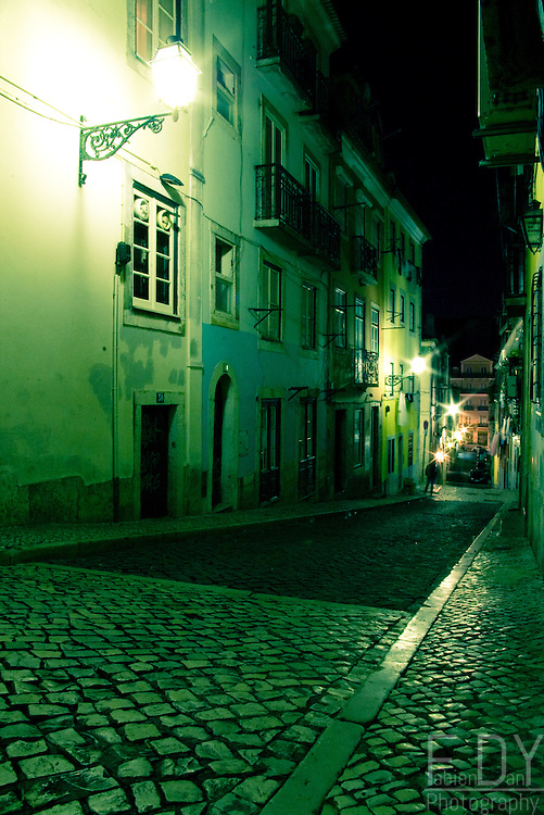 A street of Bairro Alto on a winter's night.