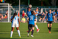 Kansas City, MO - Sunday May 07, 2017: Desiree Scott, Christina Gibbons, Camila Martins Pereira during a regular season National Women's Soccer League (NWSL) match between FC Kansas City and the Orlando Pride at Children's Mercy Victory Field.