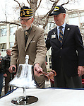 Pearl Harbor survivor Charles Sehe, left, rings the USS Nevada ship's bell in honor of his shipmates who died at Pearl Harbor during the USS Nevada Centennial Ceremony at the Capitol in Carson City, Nev., on Friday, March 11, 2016.  Bud Southard, president of the Navy League, is at right. Cathleen Allison/Las Vegas Review-Journal