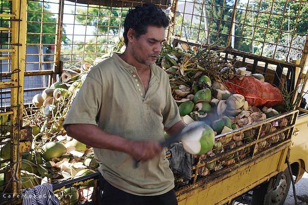 Indian coconut vendor at the Savannah