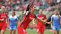 Portland, OR - Saturday April 29, 2017: Nadia Nadim celebrates during a regular season National Women's Soccer League (NWSL) match between the Portland Thorns FC and the Chicago Red Stars at Providence Park.