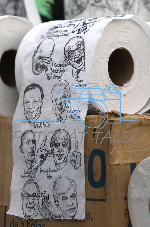 """Rolls of """"Bankster Protest"""" toilet paper were one of many items for sale at the Tea Party Express kick off Monday morning, Oct. 18, 2010, in Reno, Nev. .Photo by Cathleen Allison"""