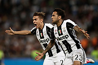 Calcio, Tim Cup: finale Juventus vs Lazio. Roma, stadio Olimpico, 17 maggio 2017.<br /> Juventus&rsquo; Dani Alves, right, celebrates with teammate Paulo Dybala after scoring during the Italian Cup football final match between Juventus and Lazio at Rome's Olympic stadium, 17 May 2017.<br /> UPDATE IMAGES PRESS/Isabella Bonotto