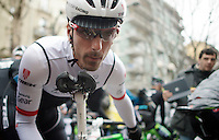 Fabian Cancellara (SUI/TREK Factory Racing) checking his brakes before the start<br /> <br /> 106th Milano - San Remo 2015