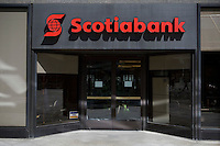 Scotiabank offices is seen in Toronto financial district April 19, 2010. The Bank of Nova Scotia, commonly called Scotiabank in English and Banque Scotia in French, is the third largest bank in Canada by deposits and market capitalization.