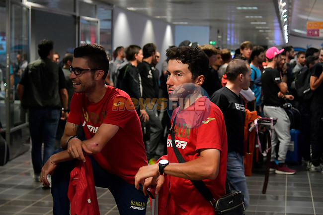 Riders and staff including Domenico Pozzovivo (ITA) Bahrain-Merida arrive at Aeroporto di Caselle Turin to transfer to Rome after Stage 20 of the 2018 Giro d'Italia,  Italy. 26th May 2018.<br /> Picture: LaPresse/Marco Alpozzi | Cyclefile<br /> <br /> <br /> All photos usage must carry mandatory copyright credit (© Cyclefile | LaPresse/Marco Alpozzi)