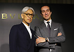 "August 24, 2017, Tokyo, Japan - Japanese composer Ryuichi Sakamoto (L) smiles with Bvlgari Japan president Walter Bolognino as he wrote a music ""TIME"" for Italian Jeweler Bvlgari's three-set wrist watch ""Bvlgari Octo Finissimo Trilogy"" at Bvlgari's shop  in Tokyo on Thursday, August 24, 2017. World's only one limited model ""Bvlgari Octo Finissimo Trilogy"" will go on sale at Kobe's watch shop Kamine with a price of 35.17 million yen.   (Photo by Yoshio Tsunoda/AFLO) LwX -ytd-"
