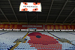 A Poppy emblem behind one of the Goals before the start of the FIFA World Cup Qualifying match at the Cardiff City Stadium, Cardiff. Picture date: November 12th, 2016. Pic Robin Parker/Sportimage