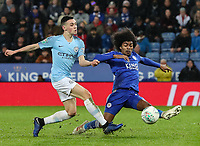 Manchester City 's Phil Foden competing with Leicester City 's Hamza Choudhury<br /> <br /> Photographer Andrew Kearns/CameraSport<br /> <br /> English League Cup - Carabao Cup Quarter Final - Leicester City v Manchester City - Tuesday 18th December 2018 - King Power Stadium - Leicester<br />  <br /> World Copyright &copy; 2018 CameraSport. All rights reserved. 43 Linden Ave. Countesthorpe. Leicester. England. LE8 5PG - Tel: +44 (0) 116 277 4147 - admin@camerasport.com - www.camerasport.com