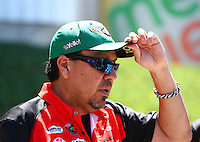Jun. 1, 2014; Englishtown, NJ, USA; NHRA funny car driver Cruz Pedregon during the Summernationals at Raceway Park. Mandatory Credit: Mark J. Rebilas-