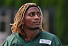 Buster Skrine #41 of the New York Jets looks skyward after the first team practice of training camp at the Atlantic Health Jets Training Center in Florham Park, NJ on Saturday, July 29, 2017.