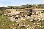 Baths building ruins Acinipo Roman town site Ronda la Vieja, Cadiz province, Spain