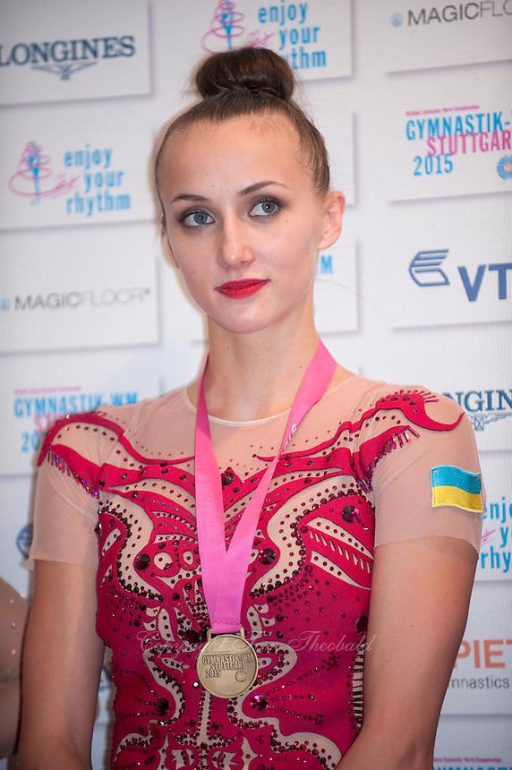 September 8, 2015 - Stuttgart, Germany - ANNA RIZATDINOVA of Ukraine, press interview portrait after EF at 2015 World Championships.