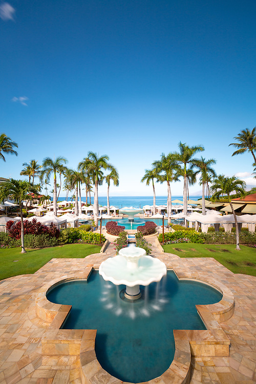 The main pool entrance at the Four Seasons Resort Maui,  Wailea, Maui, Hawaii, USA