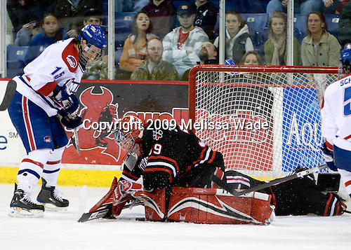 Scott Campbell (UMass-Lowell - 15), Randy Guzior (Northeastern - 13), Brad Thiessen (Northeastern - 39) - The Northeastern University Huskies defeated the University of Massachusetts-Lowell Riverhawks 3-1 on Saturday, February 28, 2009, at the Paul E. Tsongas Arena in Lowell, Massachusetts.
