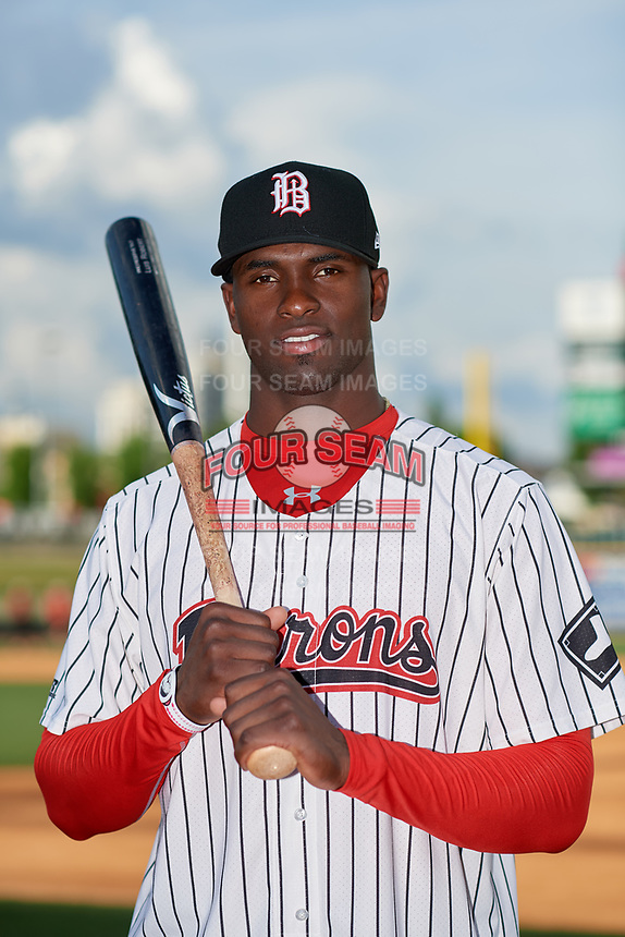 Birmingham Barons Luis Robert (26) poses for a photo before a Southern League game against the Chattanooga Lookouts on May 1, 2019 at Regions Field in Birmingham, Alabama.  Chattanooga defeated Birmingham 5-0.  (Mike Janes/Four Seam Images)
