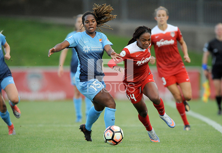 Boyds, MD - Saturday May 6, 2017: Kayla Mills, Francisca Ordega during a regular season National Women's Soccer League (NWSL) match between the Washington Spirit and Sky Blue FC at Maureen Hendricks Field, Maryland SoccerPlex.