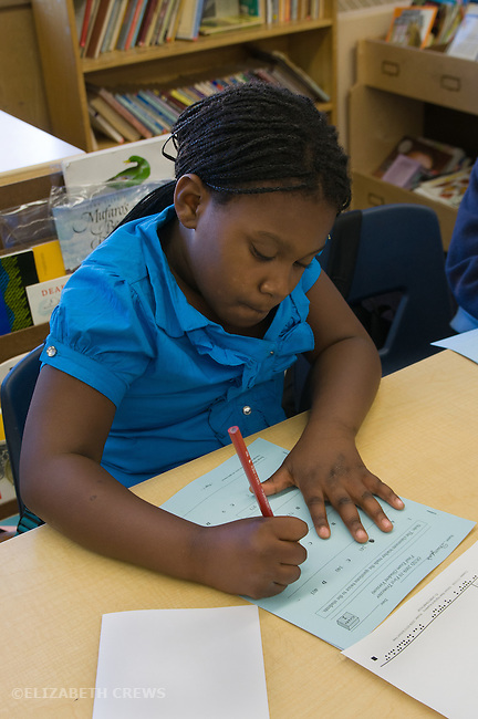 Oakland Ca 2nd grade student doing standardized Oakland school district math test