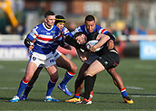 3rd February 2019, Trailfinders Sports Ground, London, England; Betfred Super League rugby, London Broncos versus Wakefield Trinity; Elliot Kear of London Broncos is tackled by Reece Lyne and Danny Brough of Wakefield Trinity
