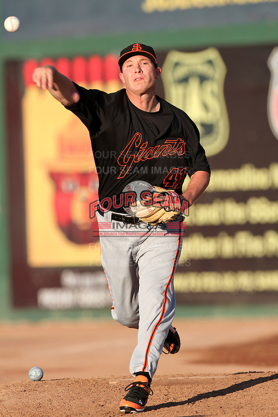 San Jose Giants pitcher Craig Westcott #41 pitches against the Inland Empire 66'ers at Arrowhead Credit Union Park on August 1, 2011 in San Bernardino,California. San Jose defeated Inland Empire 2-1.(Larry Goren/Four Seam Images)