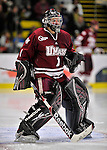 22 November 2011: University of Massachusetts Minutemen goaltender Jeff Teglia, a Sophomore from Bloomingdale, IL, in second period action against the University of Vermont Catamounts at Gutterson Fieldhouse in Burlington, Vermont. The Catamounts defeated the Minutemen 2-1 in their annual pre-Thanksgiving meeting of the Hockey East season. Mandatory Credit: Ed Wolfstein Photo