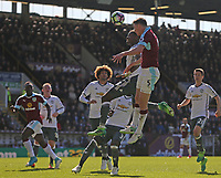 Burnley's Michael Keane rises above Manchester United's Paul Pogba to head towards goal <br /> <br /> Photographer Stephen White/CameraSport<br /> <br /> The Premier League - Burnley v Manchester United - Sunday 23rd April 2017 - Turf Moor - Burnley<br /> <br /> World Copyright &copy; 2017 CameraSport. All rights reserved. 43 Linden Ave. Countesthorpe. Leicester. England. LE8 5PG - Tel: +44 (0) 116 277 4147 - admin@camerasport.com - www.camerasport.com
