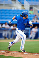 Dunedin Blue Jays designated hitter Bo Bichette (10) runs to first base during a game against the Bradenton Marauders on July 17, 2017 at Florida Auto Exchange Stadium in Dunedin, Florida.  Bradenton defeated Dunedin 7-5.  (Mike Janes/Four Seam Images)