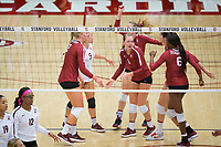 STANFORD, CA - September 9, 2018: Jenna Gray,Kathryn Plummer, Morgan Hentz. Tami Alade, Audriana Fitzmorris, Meghan McClure at Maples Pavilion. The Stanford Cardinal defeated #1 ranked Minnesota 3-1 in the Big Ten / PAC-12 Challenge.