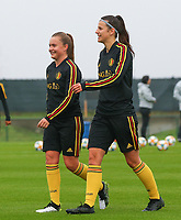 20191006 TUBIZE: Red Flames Davinia Vanmechelen and Laure De Neve are pictured at the Open Training of Red Flames on Sunday 6th of October 2019, Tubize, Belgium  PHOTO SPORTPIX.BE | SEVIL OKTEM