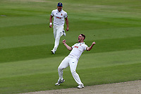 Jamie Porter of Essex celebrates taking the wicket of Keaton Jennings during Lancashire CCC vs Essex CCC, Specsavers County Championship Division 1 Cricket at Emirates Old Trafford on 9th June 2018