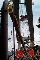 Azerbaijan. Caspian Sea. Installation of pin piles from the DBA barge at an oil field in the Caspian Sea.