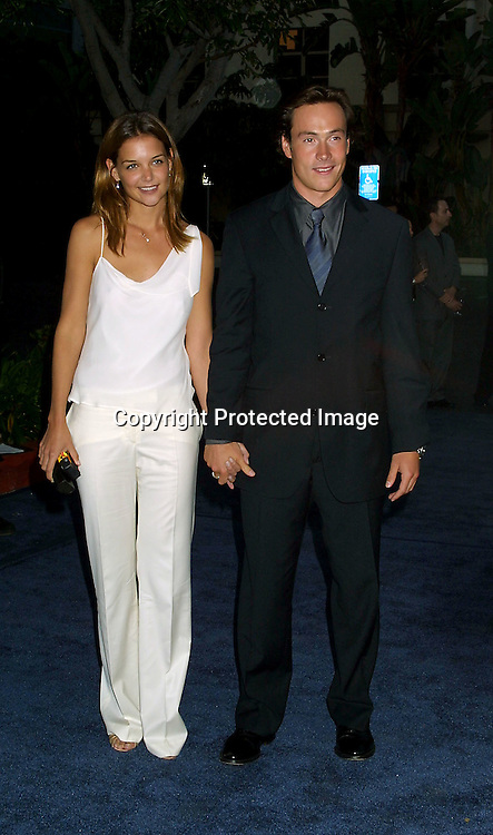 ©2002 KATHY HUTCHINS/ HUTCHINS PHOTO.PARAMOUNT 90TH ANNIVERSARY PARTY .PARAMOUNT LOT, LOS ANGELES, CA.7/14/02 .KATIE HOLMES AND CHRIS KLEIN