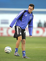 2 April 2005:   Ryan Cochrane of Earthquakes in warm-up before the game against Revolution at Spartan Stadium in San Jose, California.   Earthquakes and Revolutions tied at 2-2.  Credit: Michael Pimentel / ISI