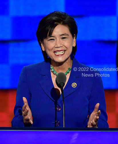 United States Representative Judy Chu (Democrat of California) makes remarks during the third session of the 2016 Democratic National Convention at the Wells Fargo Center in Philadelphia, Pennsylvania on Wednesday, July 27, 2016.<br /> Credit: Ron Sachs / CNP<br /> (RESTRICTION: NO New York or New Jersey Newspapers or newspapers within a 75 mile radius of New York City)