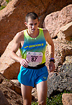 August 19, 2017 - Colorado Springs, Colorado, U.S. -  Colorado Springs runner, Matthew Williams, nears the summit of the 62nd running of the Pikes Peak Ascent.  The Ascent is a full half-marathon gaining over 7800 feet in elevation to reach the summit at 14,115 feet.  Mountain runners from around the world converge on Pikes Peak for two days of racing on America's Mountain in Colorado Springs, Colorado.