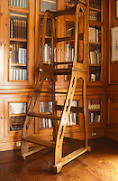 An unusual library ladder in an English country house