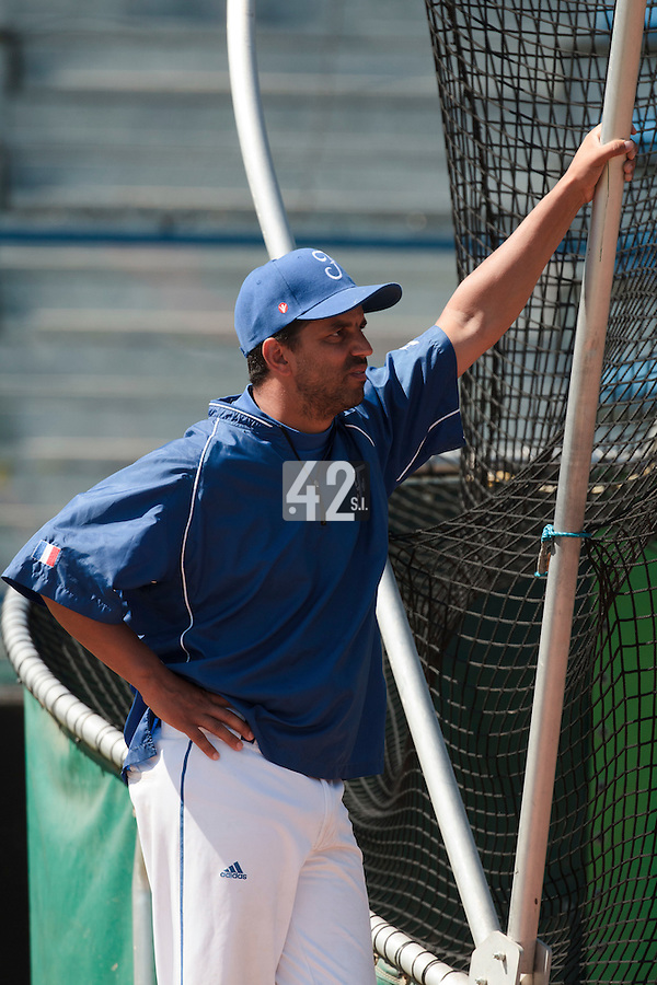 20 August 2010: Hitting coach Jamel Boutagra of Team France is seen prior to France 6-5 win over Italy, at the 2010 European Championship, under 21, in Brno, Czech Republic.