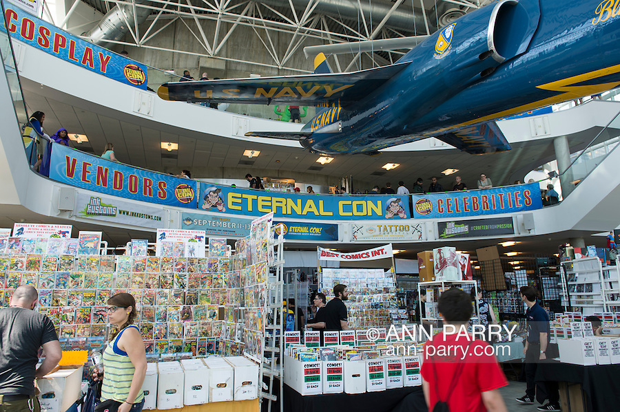 Garden City, New York, USA. June 14, 2015. People visit vendor booth in 3-floor atrium at Eternal Con, the Long Island Comic Con, at the Cradle of Aviation museum.