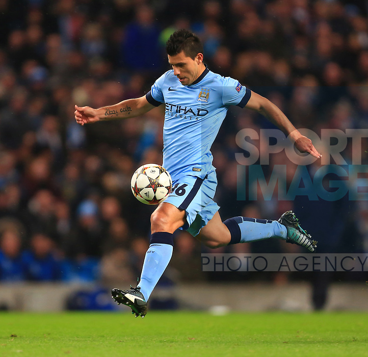 Sergio Aguero of Manchester City - Manchester City vs. Bayern Munich - UEFA Champion's League - Etihad Stadium - Manchester - 25/11/2014 Pic Philip Oldham/Sportimage