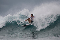 Namotu Island Resort, Nadi, Fiji (Saturday, March 3 2018): The unsettled weather continued today with winds coming out of the North and North East most the day. There were large tides due to the full moon and a small 3' bumpy swell. Guests surfed Tavarua Right and Lefts around the tides. Photo: joliphotos.com