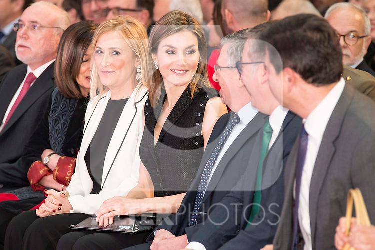 "Queen Letizia of Spain and president of SM Group, Luis Fernando Crespo during the delivery of SM Awards of children's literature ""El Barco de Vapor"" and ""Gran Angular"" at Real Casa de Correos in Madrid. April 19,2016. (ALTERPHOTOS/Borja B.Hojas)"