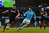 3rd December 2017, Etihad Stadium, Manchester, England; EPL Premier League football, Manchester City versus West Ham United; Declan Rice of West Ham clears as Leroy Sane of Manchester City chases him down