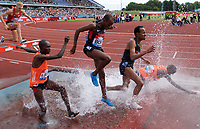 Abraham Kibiwot of Kenya falls while competing in the Men's 3000m Steeplechase during the Muller Grand Prix  IAAF Diamond League meeting at Alexander Stadium, Perry Barr, Birmingham.<br /> Picture by Alan Stanford +44 7915 056117<br /> 18/08/2018