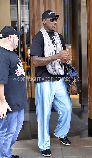 WWW.ACEPIXS.COM<br /> <br /> <br /> September 9, 2013, New York City, NY.<br /> <br /> Dennis Rodman leaving the Trump SoHo on September 9, 2013 in New York City, NY.<br /> <br /> <br /> <br /> <br /> By Line: Curtis Means/ACE Pictures<br /> <br /> ACE Pictures, Inc<br /> Tel: 646 769 0430<br /> Email: info@acepixs.com