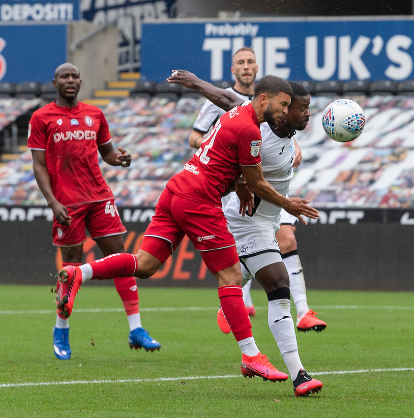 Bristol City's Nakhi Wells (left) battles with Swansea City's Marc Guehi (right) <br /> Photographer David Horton/CameraSport<br /> <br /> The EFL Sky Bet Championship - Swansea City v Bristol City- Saturday 18th July 2020 - Liberty Stadium - Swansea<br /> <br /> World Copyright © 2019 CameraSport. All rights reserved. 43 Linden Ave. Countesthorpe. Leicester. England. LE8 5PG - Tel: +44 (0) 116 277 4147 - admin@camerasport.com - www.camerasport.com