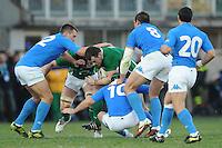 Brian O'Driscoll  (Irlanda) Sgarbi, Burton, Parisse e Canavosio (Italia)<br /> Italia vs Irlanda 11-13<br /> Six Nations Rugby<br /> Stadio Flaminio, Roma, 05/02/2011<br /> Photo Antonietta Baldassarre Insidefoto