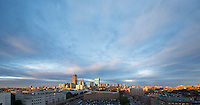 skyline clouds sunset from Northeastern U, Boston, MA (R+L pano)
