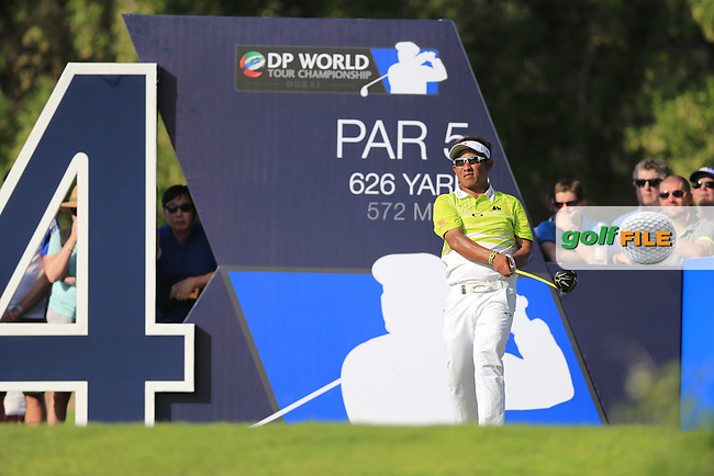 Tongchai Jaidee (THA) on the 14th tee during Round 1 of the DP World Tour Championship at the Earth course,  Jumeirah Golf Estates in Dubai, UAE,  19/11/2015.<br /> Picture: Golffile | Thos Caffrey<br /> <br /> All photo usage must carry mandatory copyright credit (&copy; Golffile | Thos Caffrey)
